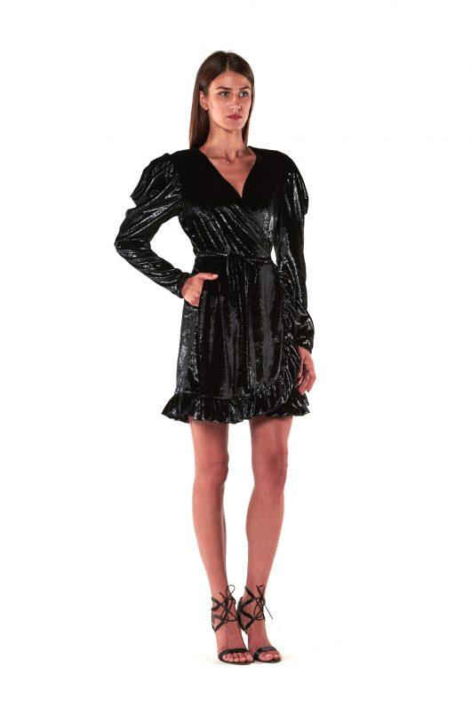 vestito corto paillettes nero