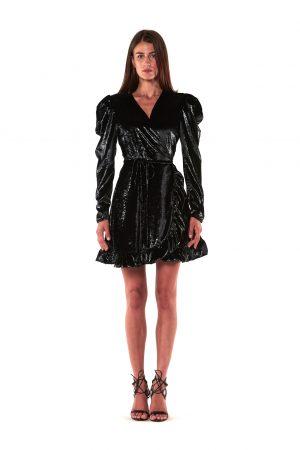 abito paillette corto nero