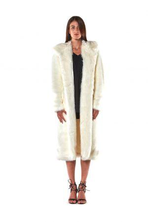 cappotto lungo eco pelliccia cappuccio