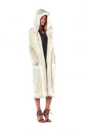 cappotto lungo eco pelliccia
