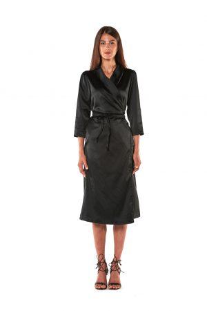abito raso lungo nero