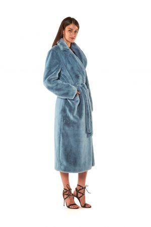 cappotto lungo vestaglia eco pelliccia azzurro