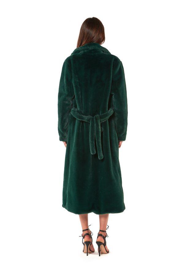 cappotto lungo vestaglia eco pelliccia verde