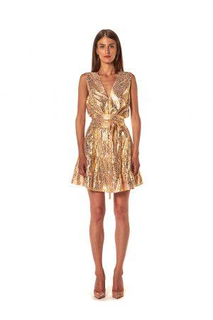 abito corto oro animalier