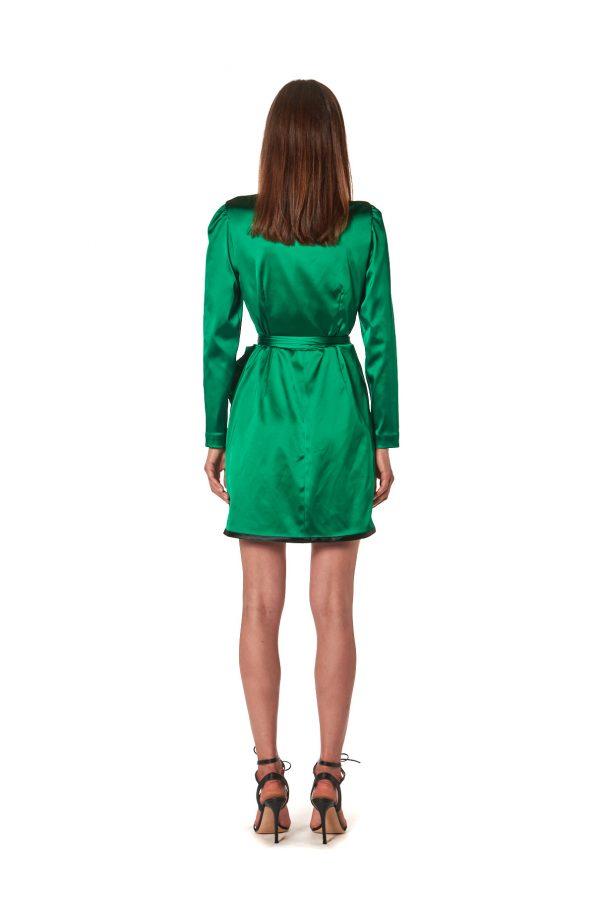 vestito raso verde corto