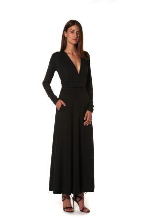 Vestito lungo jersey nero