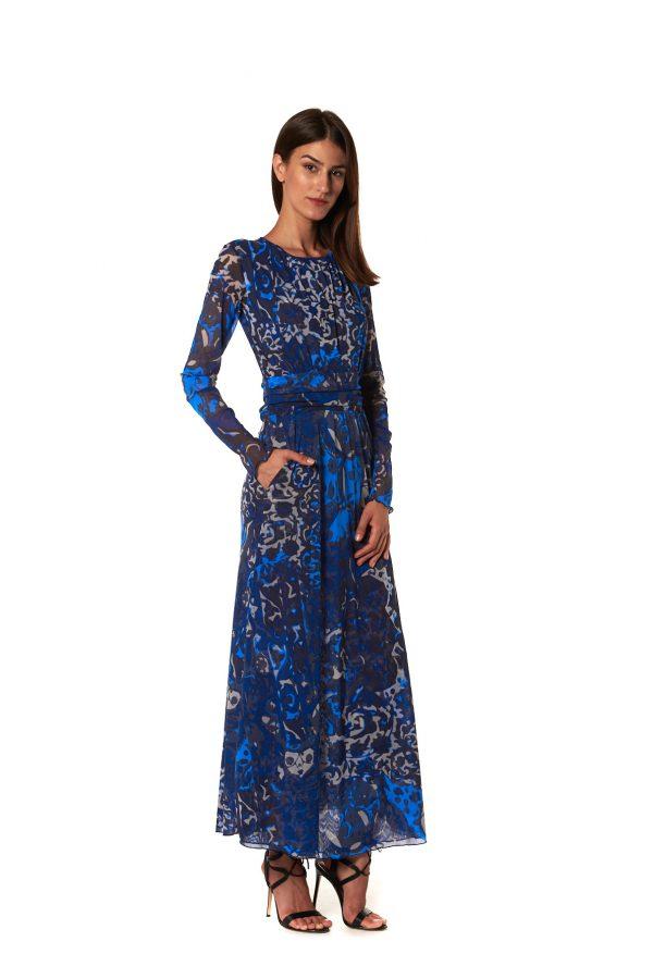 Vestito lungo fantasia tulle blu
