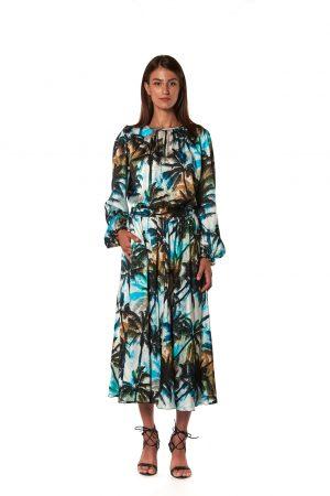 vestito lungo fantasia palme