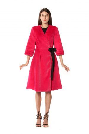 cappotto eco pelliccia fucsia 2