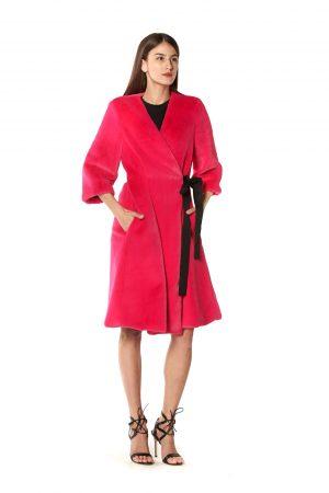 cappotto eco pelliccia fucsia 1