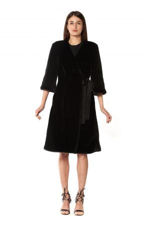 cappotto eco pelliccia nero 2