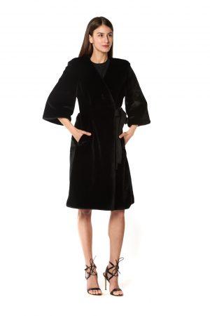 cappotto eco pelliccia nero 1