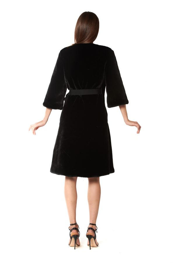cappotto eco pelliccia nero 3