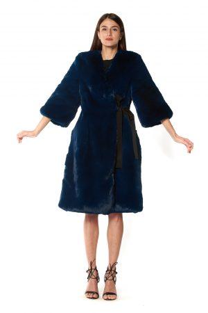Cappotto eco pelliccia blu 2