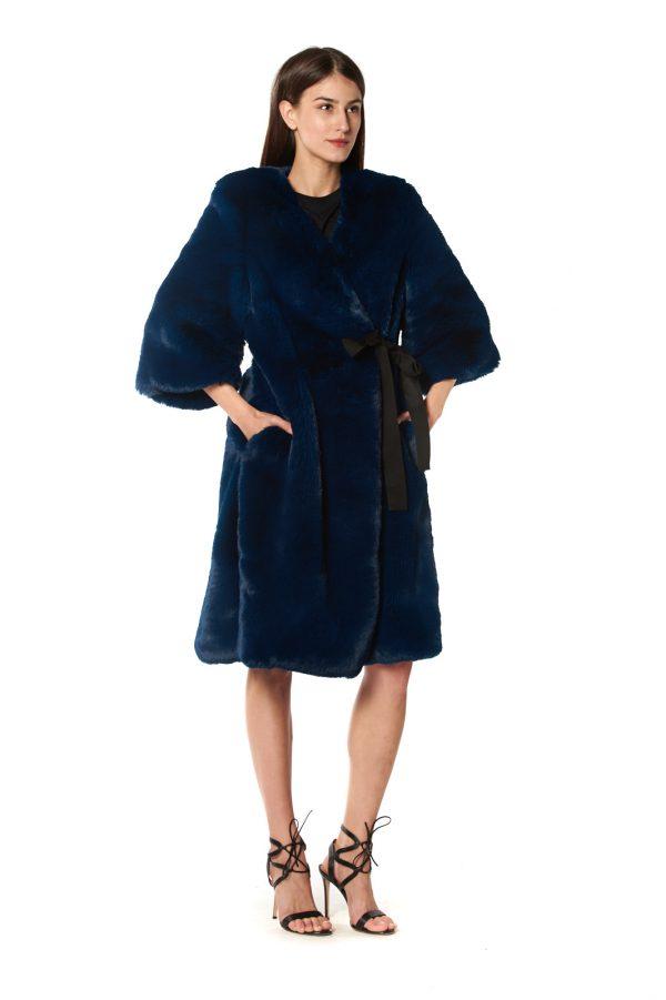 cappotto eco pelliccia blu 1