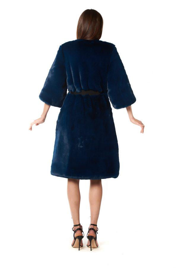 Cappotto eco pelliccia blu