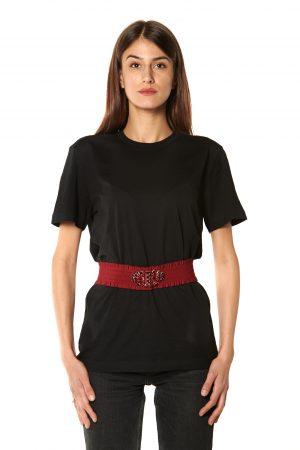 Cintura elastico rossa pietre rosse e nere