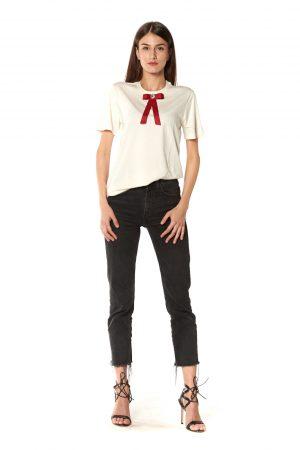 T-Shirt girocollo avorio fiocco rosso strasse bianco