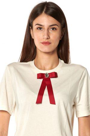 tshirt g avorio fiocco rosso strasse bianco 1