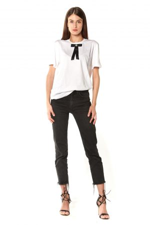 T-Shirt girocollo bianca fiocco nero strasse bianco