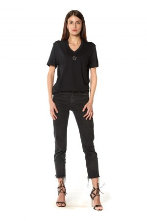 T-Shirt scollo V nera stellina strasse nero