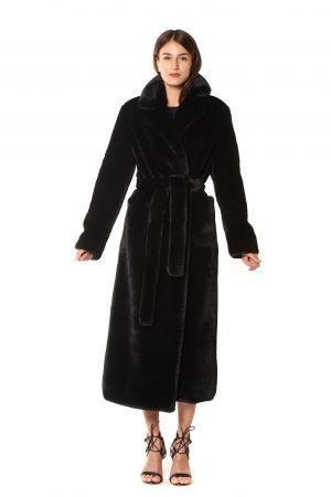 CAPPOTTO LUNGO vestaglia eco-pelliccia nera