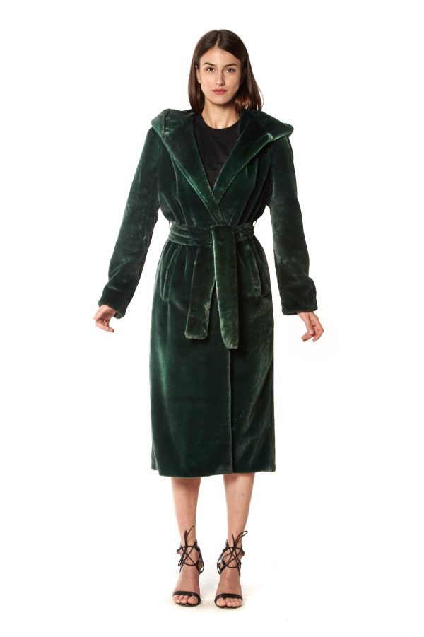 CAPPOTTO LUNGO vestaglia eco-pelliccia verde cappuccio