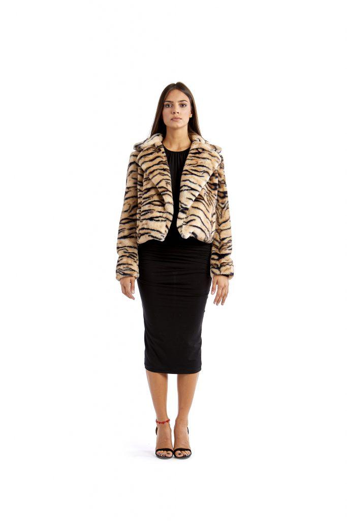 Ava black and beige zebra-striped print faux fur jacket